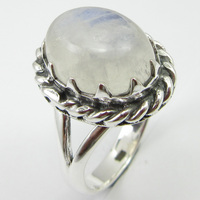 Pure Silver Cabochon Rainbow Moonstone Ring Size 6.5 Gems Jewelry Unique Designed