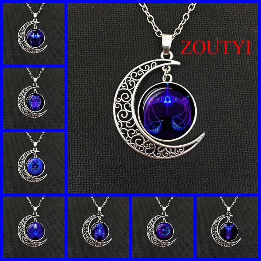 2018/moda dinheiro quente galáxia constellation design 12 horóscopo constelação astrologia feminino masculino vidro convexo lua colar