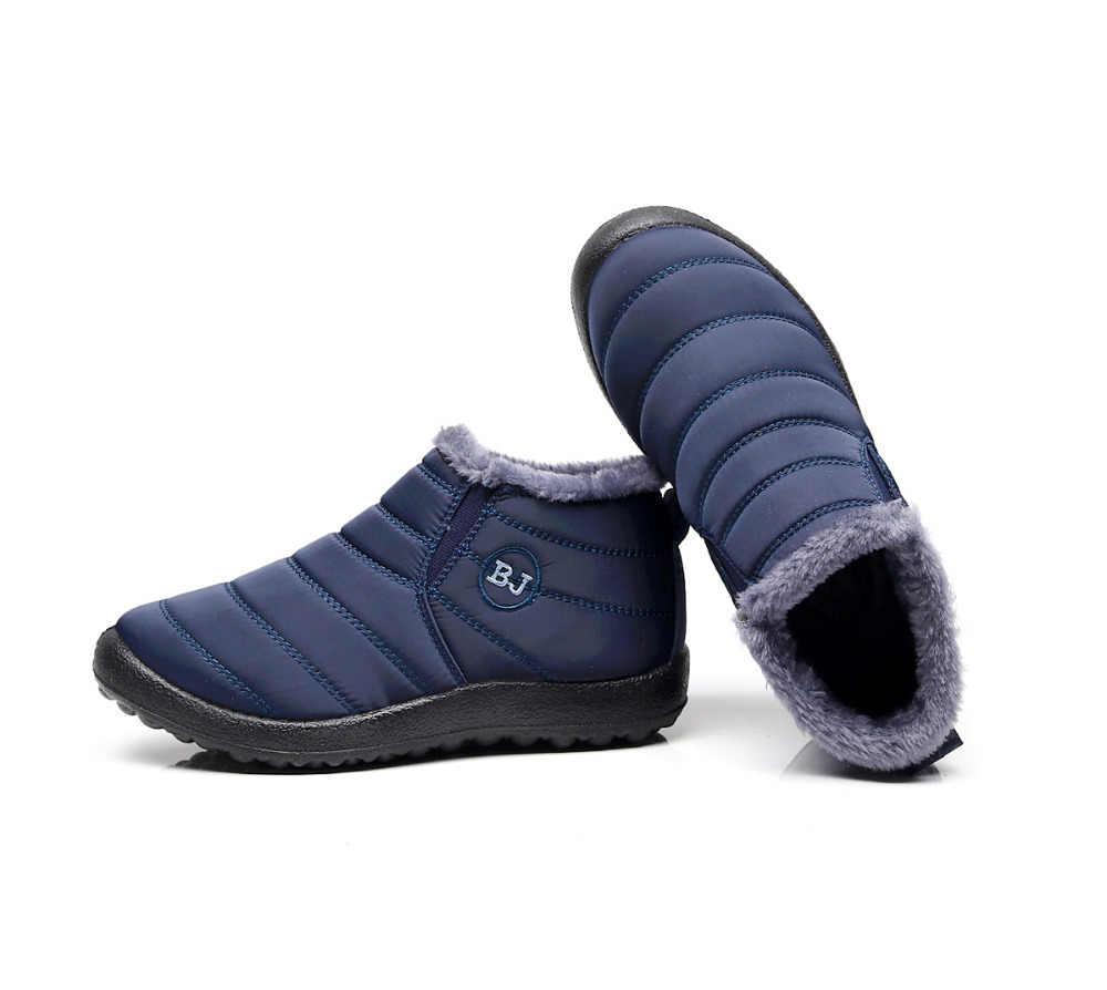 แฟชั่นผู้ชายใหม่ฤดูหนาวรองเท้าสีหิมะรองเท้าบูท Plush ภายในด้านล่าง Antiskid อุ่นรองเท้าสกีกันน้ำขนาด 35 -46