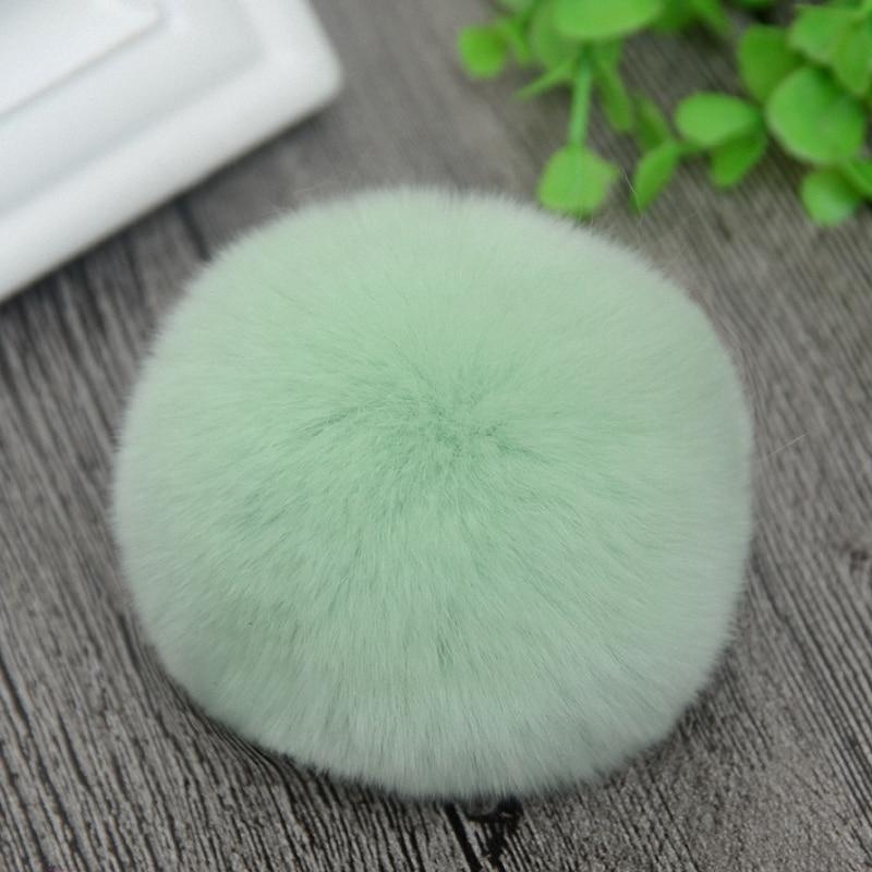 8cm Nature Genuine Rex Rabbit Fur Ball Pom Pom Fluffy DIY Winter Hat   Skullies     Beanies   Knitted Cap Pompoms TWF001-lightgreen