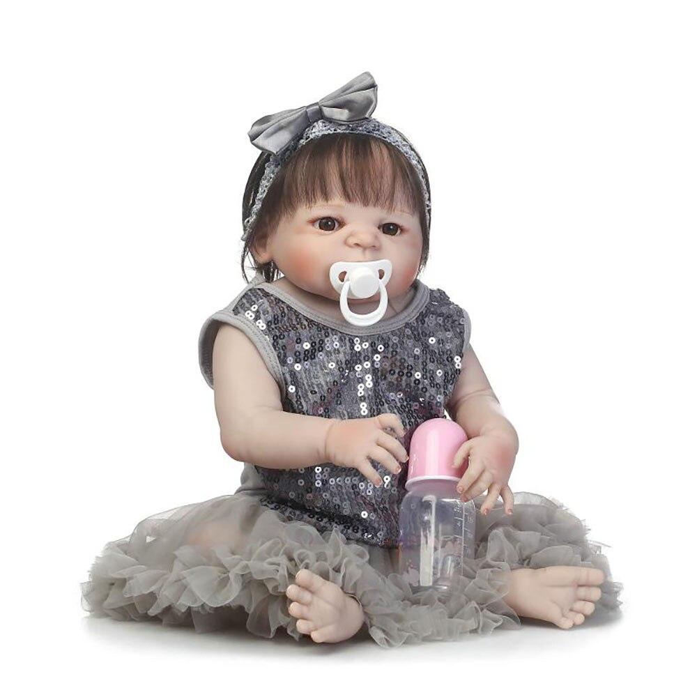 57cm Full Silicone Reborn Girl Baby Doll Toys Like Real Newborn Princess Babies Doll Birthday Gift Girls Bonecas Bathe Toy