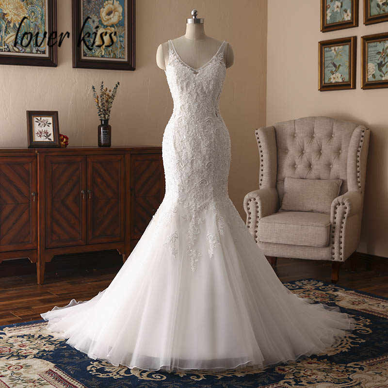 Lover Kiss Boho robe mariee 2018 Bride Sexy Wedding Dress For Women Marriage Lace Beaded Bridal Gown Backless Vestido De Noiva