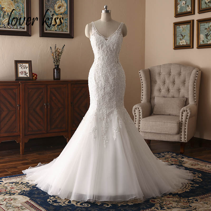 Lover Kiss Vestido De Noiva Mermaid Boho Wedding Dress 2020 Lace Beaded Backless Real Bride Bridal Gowns Robe De Mariage