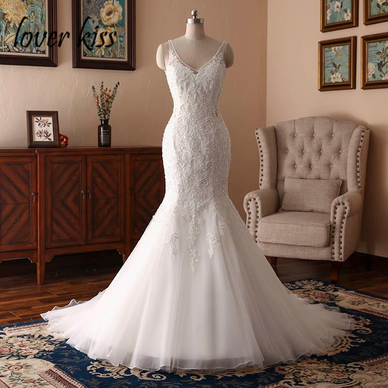 Lover Kiss Vestido De Noiva Mermaid Boho Wedding Dress 2020 Lace Beaded Backless Real Bride Bridal Gowns Robe De Mariage