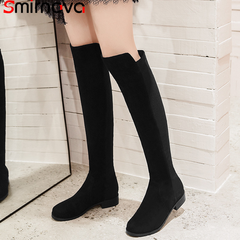 Women Winter Knee-High Boots Fashion Round Toe Low Heel Stretch Cow Leather Elegant Shoes