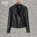 Дизайнер черный PU кожаные куртки и пальто женщины мотоциклетная куртка chaquetas де cuero mujer весте ан cuir femme LT751