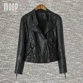 Designer black PU leather jackets and coats women motorcycle jacket  chaquetas de cuero mujer veste en cuir femme LT751