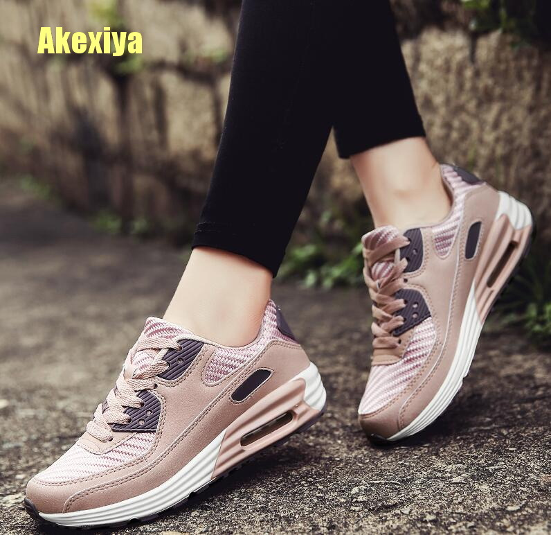 Akexiya Brand 2019 Fashion Air Mesh Women Breathable Fly Knitting Outdoor Walking Shoes Vulcanized Female Wedge Sneakers Shoes