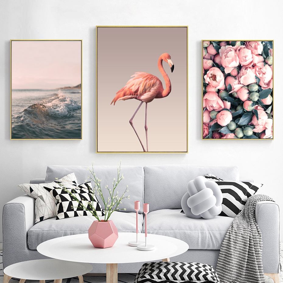 Rose Flamingos Seascape Love Posters And Prints Canvas Paintings Wall Art Pictures Nordic Living Room Home Decor Unframed