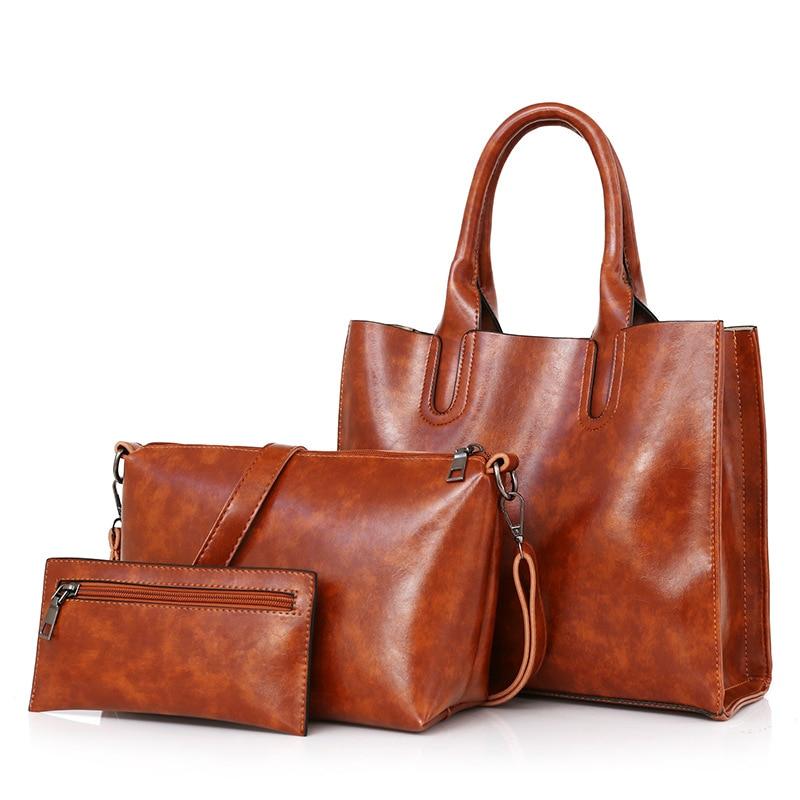 3 Pcs/Set Oil Wax Leather Women Bag Leather Handbags High Quality Casual Female Handbag Sac a Main Tote Shoulder Bags bolsa|Shoulder Bags| - AliExpress