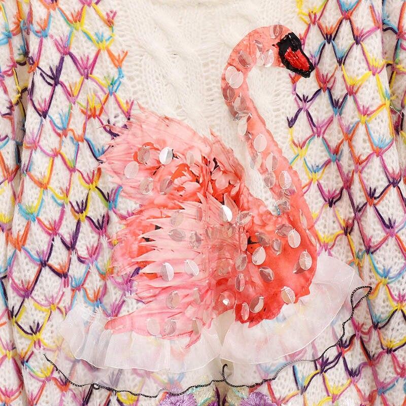 Lâche Chandail En Creamy Nouveau Tricot Femmes Manches Vêtements 37210 Chandails Pull À Neploe Longues Jumper Tops purple White Contraste Paillettes Swan Couleur Tricoté xXgFZnZqS