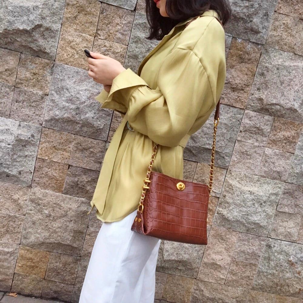 Designer 2019 De Véritable Femmes Main En Motif white Kafunila Sac Seau Mini Sacs Bolsa brown Les Pour Cuir Épaule Crocodile À Black Luxe PYO0wgq