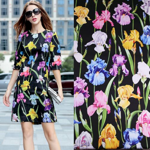 ea6d67a507cc Iris Printed Black Polyester Charmeuse Imitate Silk Satin Fabric for Woman Summer  Dress Pajama Shirt and Pants Sewing DIY-AF694