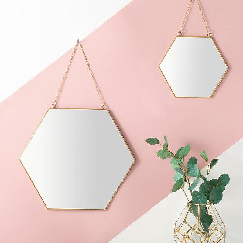 Nordique Simple Géométrique D'or En Laiton Hexagonale Miroir Salle De Bains Porche Suspendus Miroirs Dame Maquillage Miroir Décor À La Maison Accessoires