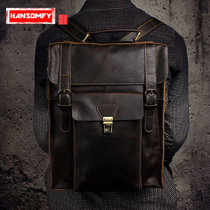 Genuine leather Men Backpacks Europe and the United States retro shoulder Bag men s large capacity