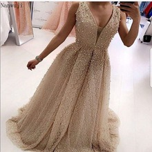 Robe De Soiree 2018 New Arrivals Luxuryv-neck Sky Blue Elegant Long  A-line Evening Dresses Satin Party Gowns Formal Real Photos