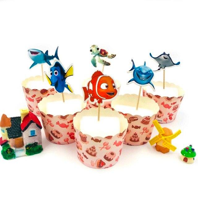 24pcsset Nemo Fish Cupcake Topper Party Supplies Happy Birthday