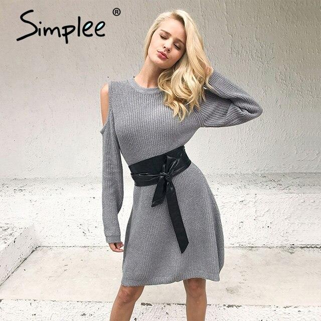 Simplee сексуальное с открытыми плечами трикотажное платье-свитер женское эластичное осенне-зимнее платье повседневное платье с длинными рук...