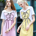 Nuevo 2017 Summer Fashion brand mujeres largas camisetas Femal Belleza Arco impreso plus algodón de la mujer de manga corta floja top TS-014