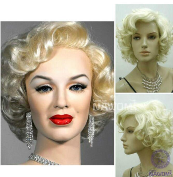 Jewelry Wig Marilyn Monroe Beautiful Short Blonde Curly Wigs Hair Classic Cosplay Wigs Free Shipping