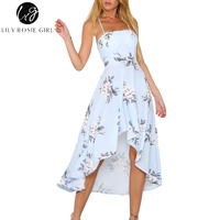 Lily Rosie Girl Halter Strapless Floral Print Blue Women Dresses 2018 Summer Party Sexy Backless Boho