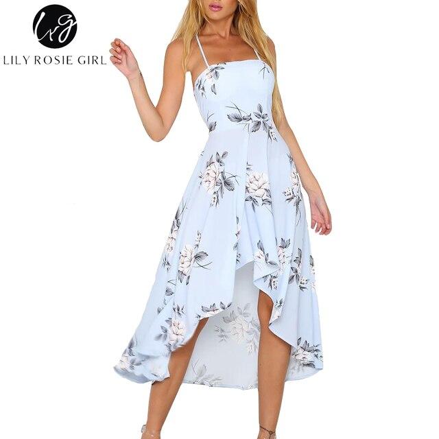Лили Rosie с лямкой на шее без бретелек Цветочный принт синий Для женщин Платья для женщин 2018 Для летних вечеринок пикантные спинки Boho пляжное платье дамы Vestido