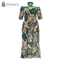 Vintacy Halter Long Dress Women Elegant Ruffle Off The Shoulder Chiffon Dresses Green Print Short Sleeve