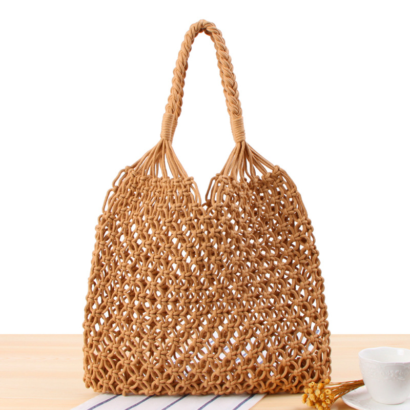 3ada5bd377ad US $22.32 30% OFF|Fashion Girl Summer Bag Cotton Rope Knitting Handmade  Tote Women Beach Bag Hollow Out Shoulder Bag Tote-in Shoulder Bags from ...