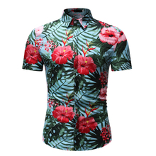2019 Summer New Mens Short Sleeve Beach Hawaiian Shirt Fashion Cotton Casual Floral Large Size S-3XL