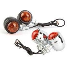2 шт. Мотоцикл Сигнал Поворота Индикатор Черный Вилка Для Chopper Bobber Кафе racer Honda Kawasaki Yamaha Suzuki Новый