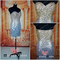 Free shipping Real Sample Custom Made Short Min Length Gold and Sliver Sequin Beaded Cocktail Dress