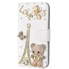 Handmade Bling Diamond Rhinestone PU Leather Filp Cover Wallet Case for iPhone X 5s 6 6s 7 8 plus