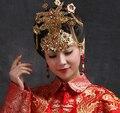 Clássica Chinesa Bonita Noiva Original Handmade Traje Vermelho Nupcial Headwear Acessórios Para o Cabelo Pente Do Cabelo Do Casamento Jóias