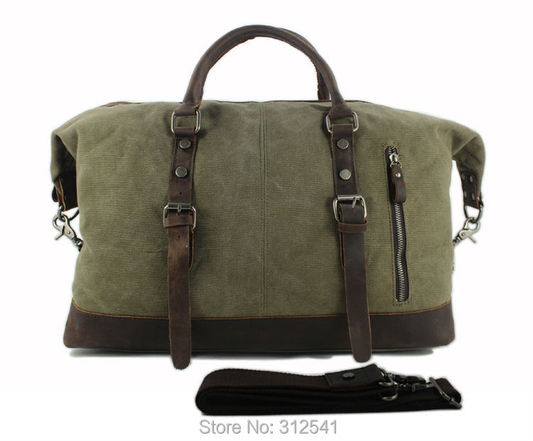Vintage military Canvas Leather men travel bags Carry on Luggage ... 331bad29d2f4d