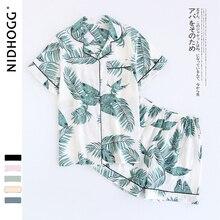 Женские пижамные комплекты из хлопка с коротким рукавом, шорты, милые Мультяшные пижамы, японские Простые короткие пижамы, Женская домашняя одежда