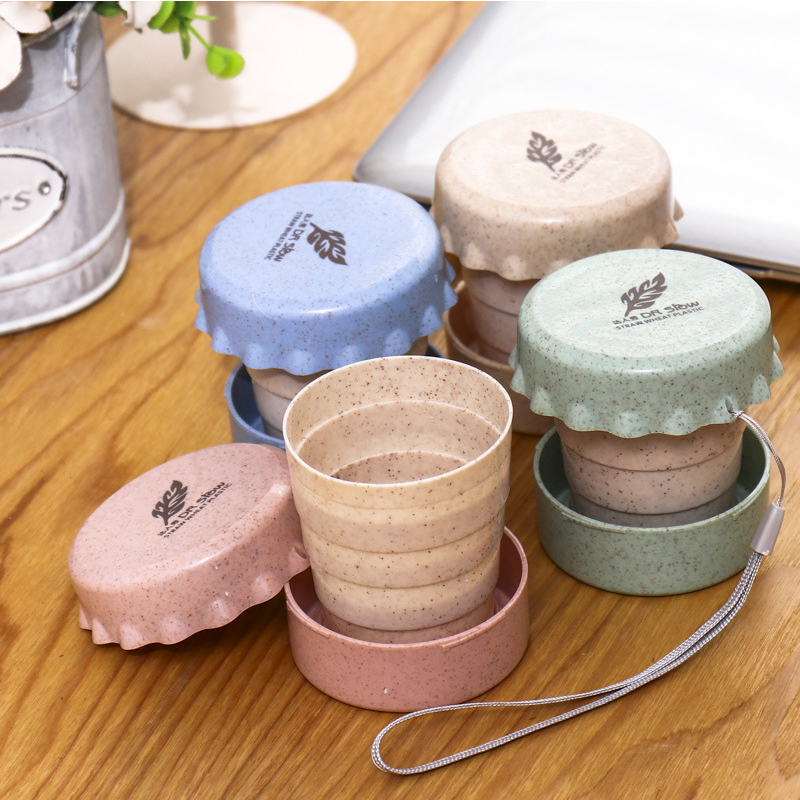 Travel Creative Telescopic Cup Retractable Wheat Perfume Cup Environmental Folding Hand Cup Gift Gift Cup.