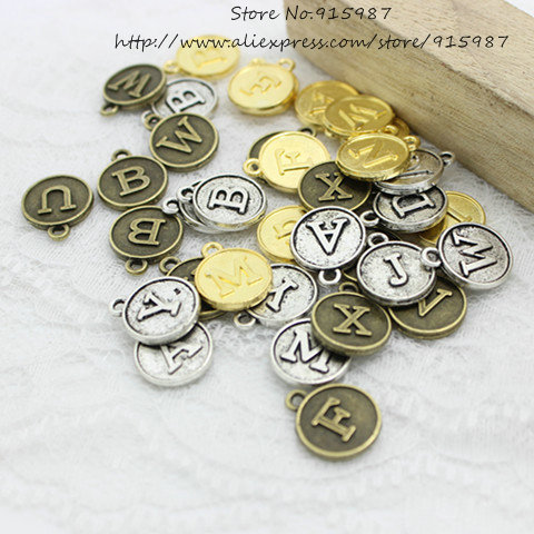 Sweet Bell 78pcs/lot Three Colors round Alphabet A-Z Letter Tag Charms 12.5*15mmFor Jewelry Making  Wholesale D0739