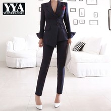 Fashion Solid Striped Suits Set Female Single Breasted Blaze