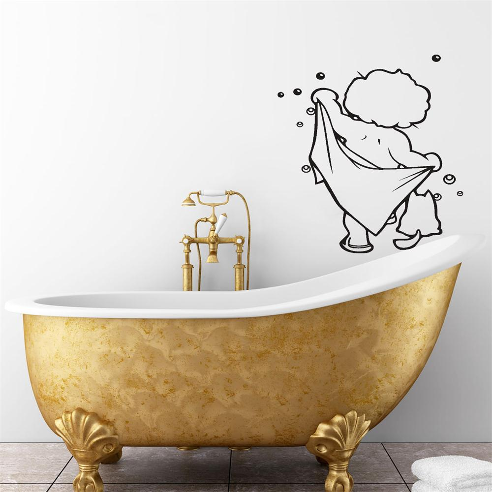 Wall stickers bathroom - Lovely Baby Love Shower Wall Stickers Bathroom Glass Door Stickers Cute Children Shower Sticker Waterproof Removable Home Decals In Wall Stickers From Home