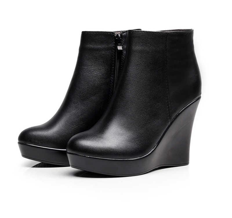 4267e6892 ... 2019 натуральная кожа осенне-зимние ботинки женские ботильоны женские  ботинки на танкетке женские ботинки обувь ...