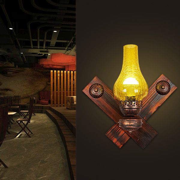 Vintage retro bronze iron lantern Kerosene wall lamp E27 for hallway Bathroom bar Vanity night Lights fixture sconce bedroom