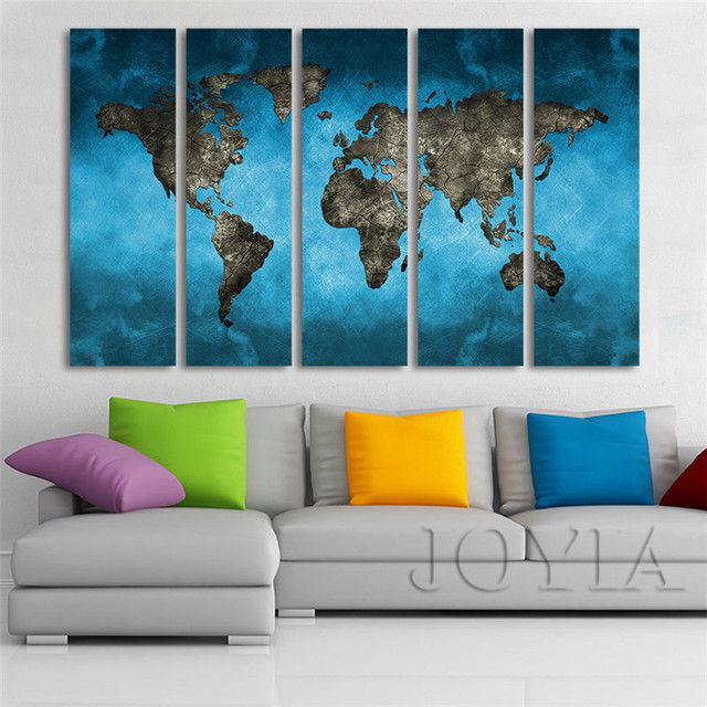 World map canvas art prints 5 piece large wall paintings set world map canvas art prints 5 piece large wall paintings set abstract blue sky the earth gumiabroncs Images