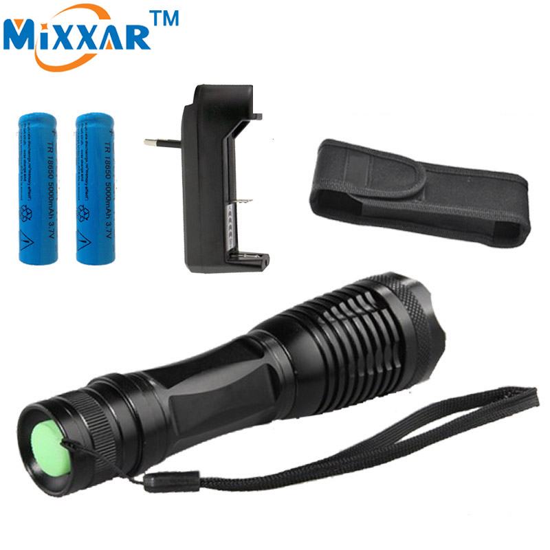 RUzk10 LED torch XML-T6 8000LM Led flashlight Focus lamp Zoomable lights+Charger + 2*18650 5000mAh Rechargeable battery+Holster cree xml t6 3000lm adjustable led flashlight led torch car charger battery charger 18650 rechargeable battery holster zk10