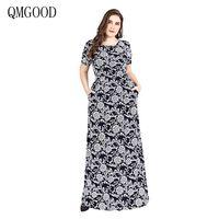 QMGOOD 2018 New Big Size Women Clothes Robe Elegant Dresses Short Sleeve Printing Long Dress Plus Size 6XL Luxury Party Dresses