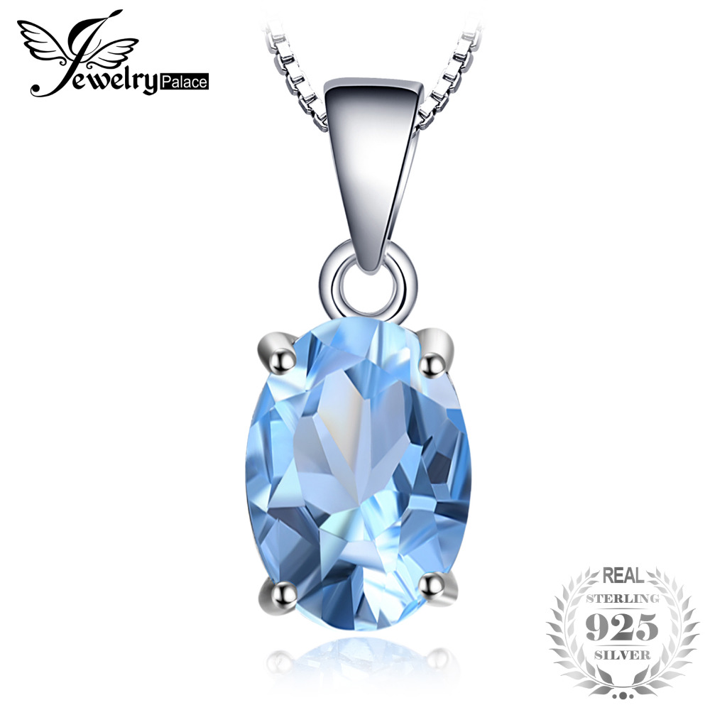 JewelryPalace Oval 2.1ct Natural Sky Blue Topaz Birthstone Solitaire Pendant 925 Sterling Silver Not Include A Chain New