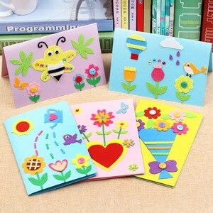الاطفال DIY الحرفية لعب أطقم اليدوية الشكر بطاقة الكرتون الأطفال غير المنسوجة ملصقات الحرف لغز الطفل الألعاب التعليمية