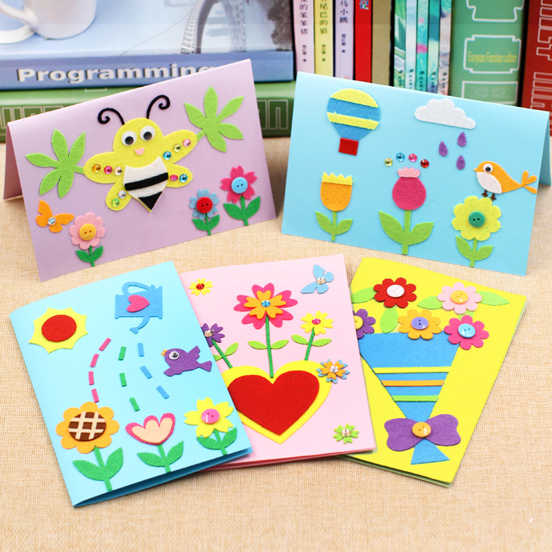 Kids DIY Craft Toys Kits Handmade Thanksgiving Card Cartoon Children Non-woven Stickers Crafts Puzzle Baby Educational Toys