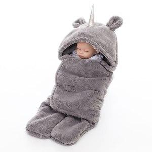 Одежда для сна для новорожденных, зимний теплый спальный мешок, костюм для новорожденных, детский банный халат с капюшоном, пижама, мягкая н...