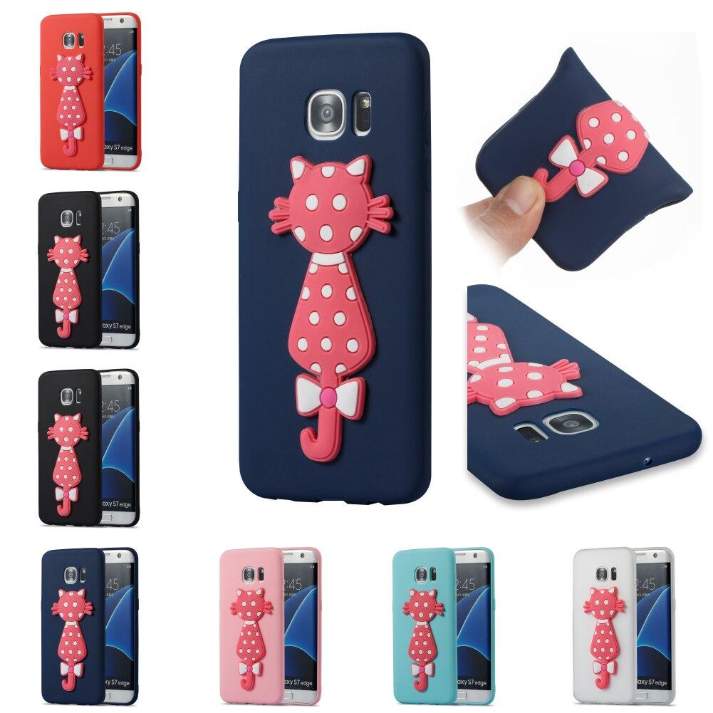 3D Cat TPU Cute Cartoon Silicone Cover Cubierta Phone Case For Sumsung Samsug Samsung Galaxi S7 Edge SM G935F