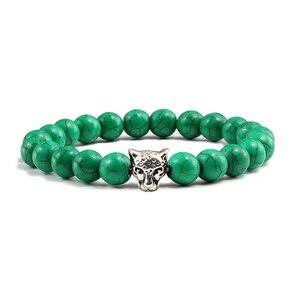 Image 4 - Gold Leopard Head Beads Buddha Bracelet Femme Homme Natural Stone Prayer Yoga Men Jewelry Ethnic Handmade Bracelets&Bangles Gift